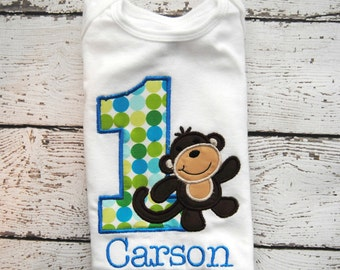 Monkey Personalized Birthday Shirt or Body Suit