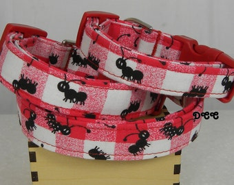 Dog Collar Picnic Time Summer Check Red White Plaid Ants Dog Collar Adjustable Dog Collar w D Ring Choose Size Accessories Accessory Pets