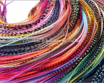Extra Long Rooster Feathers Rainbow Hair Feathers Extensions Wholesale 100 Feather Hair Accessories Bright Colors