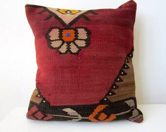 Handwoven Turkish Rug Pillow Cover, Decorative Pillows, Accent Pillow, Throw Pillow, Kilim Pillow Cover, Vintage Pillow, Lumbar Pillow