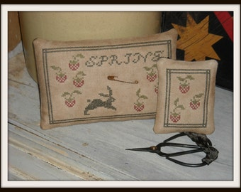 Primitive Strawberries & Bunny Pinkeep and Scissor Fob, Rustic Cross Stitch Spring Pincushion - FREE US SHIPPING