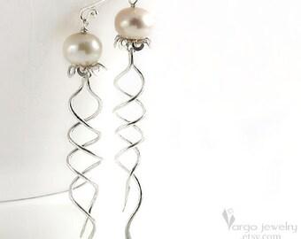 Jellyfish Earrings Sterling Silver 925 White Pearls Neutral Long  Dangle