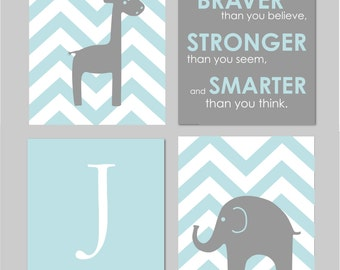 "Gray Chevron Nursery Elephant Nursery Winnie the Pooh Quote Always Remember You are Braver Elephant Giraffe Nursery Set of four 8""x10""s"
