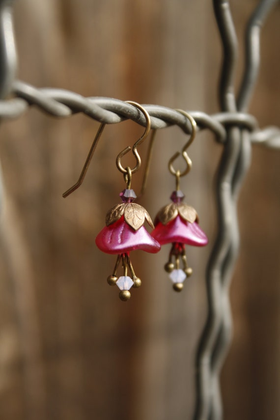 Fuschia Pink Bellflower Earrings - Whimsical, Vintage Style