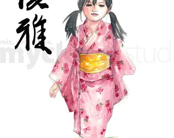 PRINT 8x10 Japanese Calligraphy and Girl in Yukata Graceful