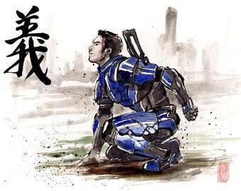 8x10 PRINT Mass Effect Kaidan Alenko Japanese Calligraphy RIGHTEOUSNESS