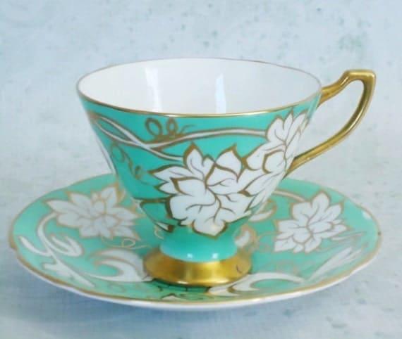 English Teacups and Saucers Mint Green Tea Cup Set Royal