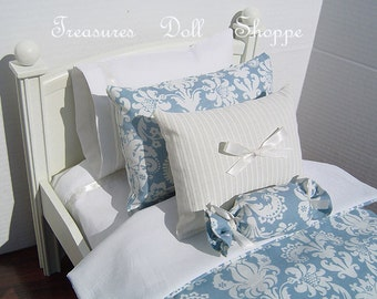 Doll Bedding - Blue Damask for 18 Inch Dolls
