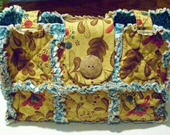Rag Quilt Purse - Tan Floral Print Fabric - Handbag - Shoulder Bag