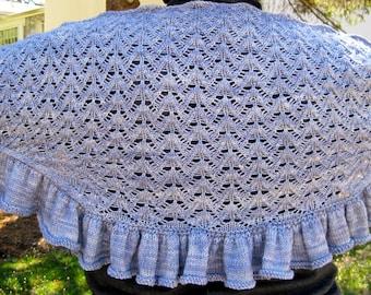 Knit wrap Pattern:  Ornamental Lace Shawlette Knitting Pattern