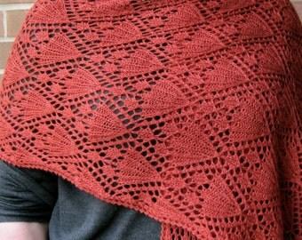 Knit Wrap Pattern:  Wedding Bells Lace Shawl Knitting Pattern