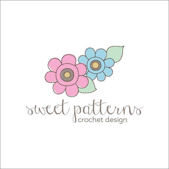 Crochet Logo : Items similar to Custom Premade Logo - OOAK - Flowers - Etsy Crochet ...