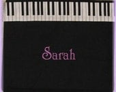 PIANO MUSIC lesson book bag back to school children personalized black canvas keyboard tote bag musician kids birthday recital gift idea