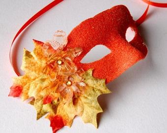 MASK - Autumnal Bonfire-  masquerade mask, Mardi Gras, ballroom, fairy, Venetian, Halloween