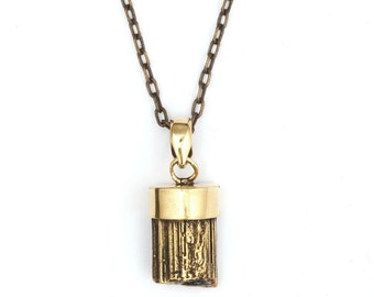 Brass Crystal Pendant with Chain 38 cm