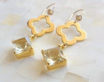 Vermeil Clover Connectors & Lemon Quartz Vermeil Dangles on Citrine Earwire Earrings (E1123)
