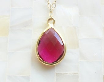 Faceted Fuchsia Hot Pink Quartz Vermeil Bezel Pendant on Gold Chain Necklace (N1629)