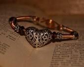 Filagree Heart Copper Bangle Bracelet