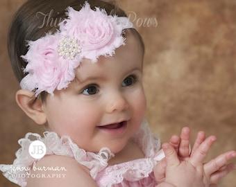 Pink Baby Headband, Baby Headbands, Valentines Headband, Baby girl headbands, Pink Easter Headband,Newborn headband,Shabby chic headband.