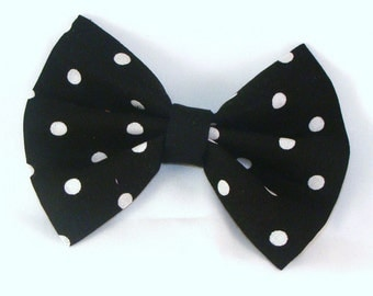 Hair Bow Vintage Inspired Black with White Dots with Aligator Clip Rockabilly Pin up Teen Woman