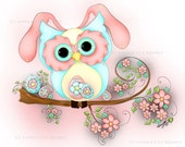 Easter Card - Owl Card - Pink Card - Greeting Card - Easter Egg Card - Handmade Card - Easter Stationary - Owl Stationary - Owl Gifts