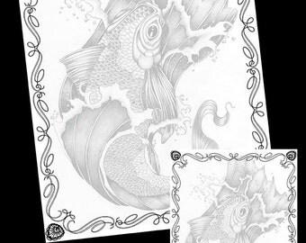 Koi - Fantasy Fish Art - PDF - Printable Notepaper - Scrapbook Paper - Digital Download