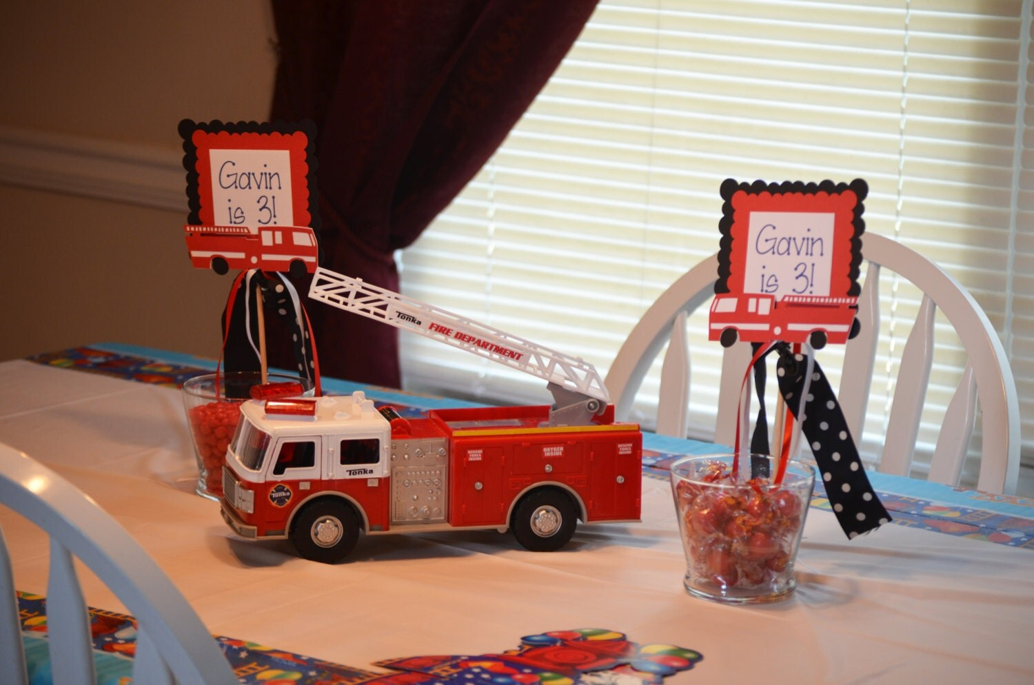 Fire truck centerpiece theme st by weloveaparty