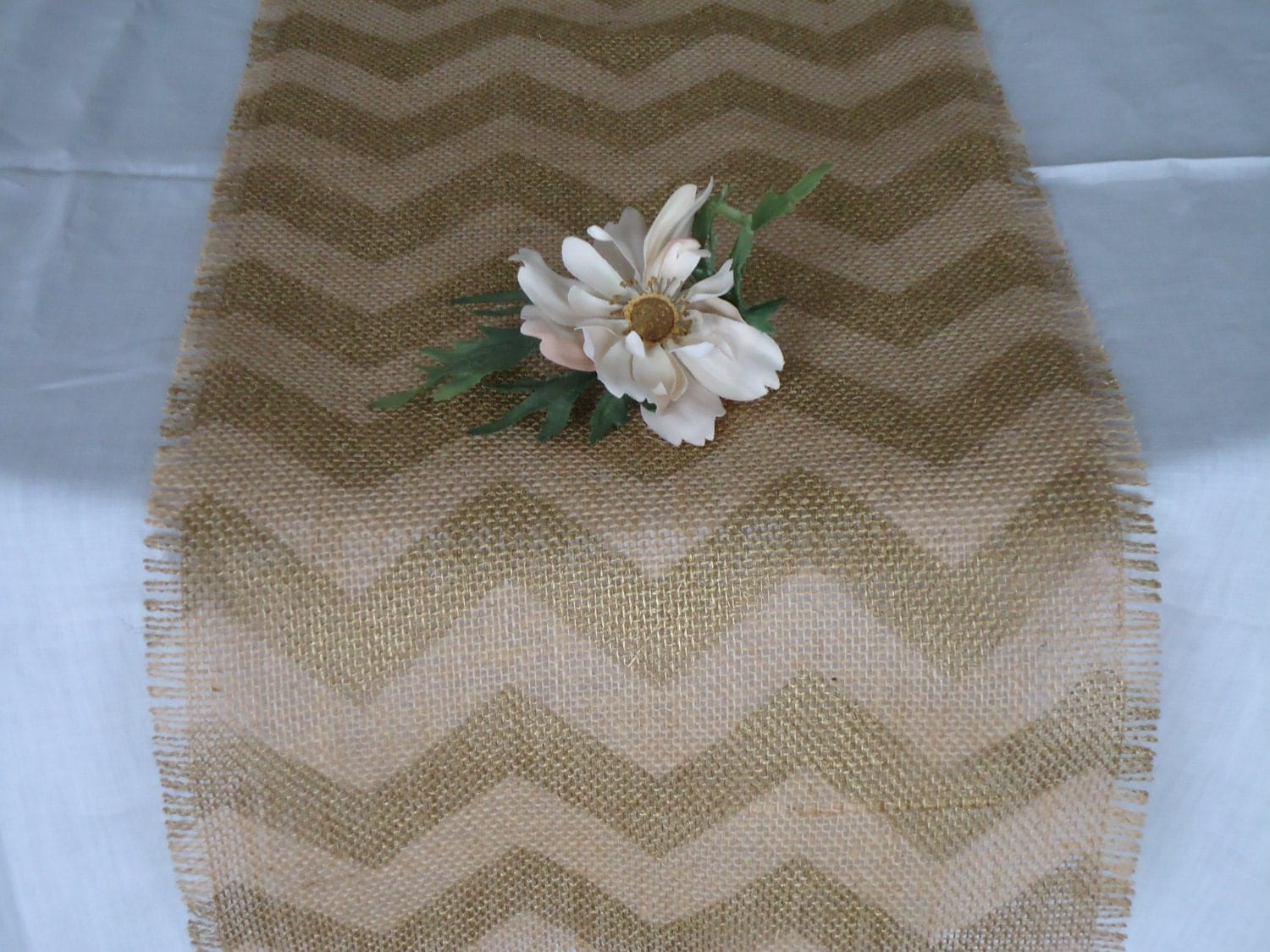 elegant burlap chevron table runner gold painted rustic table. Black Bedroom Furniture Sets. Home Design Ideas