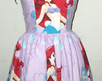 Custom Made to Order lavender Ariel Little Mermaid Geekery Pin UP SweetHeart Ruffled Halter Mini Dress