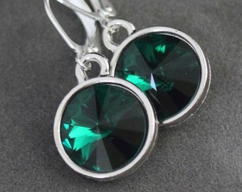 Emerald Drop Earrings, May Birthstone Earrings, Emerald Green Jewelry, Green Emerald Earrings, Crystal Birthstone Jewelry