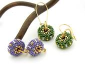 Changeable Beaded Bead Earrings - Mardis Gras purple green gold