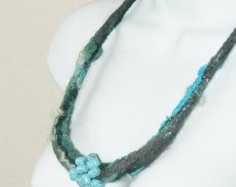 Felted Merino wool necklaceOOAK , gift under 40 USD