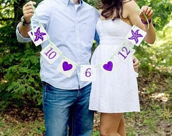 Save The Date Wedding Banner Garland Beach Wedding Banner With Starfish / Sign / Photo Prop / Beach Wedding Save The Date