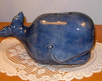 "Large Whale Piggy Bank  / Whale Coin Bank  -  ""Denim"""