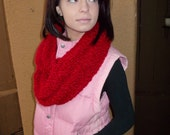 Hand Knitted Infinity Scarf - Eternity Scarf - Circle Scarf - Knitted Cowl - Knitted Neck Warmer - Red Scarf - Seamless Scarf