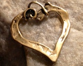 1 Large Open Artisan Heart Charm in Organic Gold BRONZE  Handcrafted by Lost Wax Carving APB25