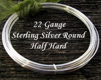 5 feet Sterling Silver Wire 22 Gauge  - Round -  Half Hard HH22S5
