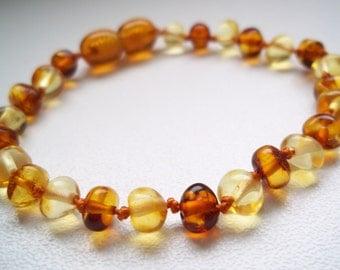 Honey and Lemon   Baltic Amber Baby Teething knotted Bracelet.