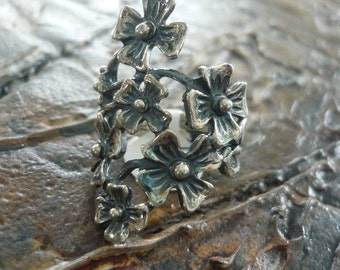Sterling Silver Ring, Floral Ring, Wide Ring, Chunky Ring, Organic Ring, Woodland Ring, Botanical Ring, Silver Flowers, Long Silver Ring.