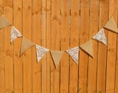Burlap and Lace Wedding Party Banner Garland Shower Party Decoration Photo Prop - We Do Custom Banners