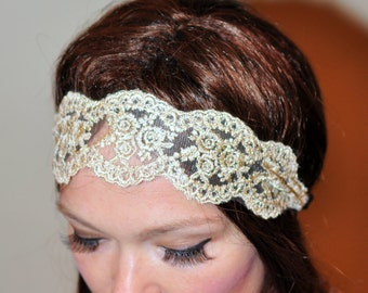 Lace Headband Great Gatsby Cream Gold Hair band Beige Headwrap Stretch Headcovering Vintage Headband Wedding Valentine Day Gift