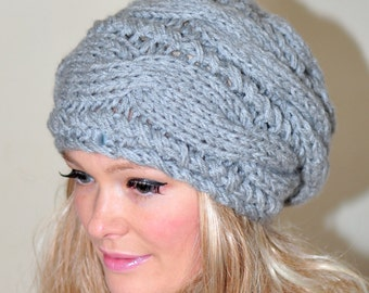 Women Hat Slouchy Beanie Slouch Hat Oversized Cabled Braided Hand Knit Women Hat Wool CHOOSE COLOR Light Gray Grey Cloud Chunky Gift
