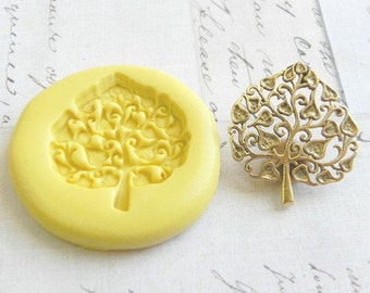 Heart Leaf Tree  - Flexible Silicone Mold - Push Mold, Jewelry Mold, Polymer Clay Mold, Resin Mold, PMC Mold