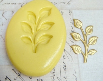 6 LEAVES on a BRANCH - Flexible Silicone Mold - Push Mold, Polymer Clay Mold, Pmc Mold, Clay Mold, Ice Mold, Food Mold, Resin Mold, Pmc Mold