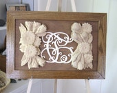 Woodworking WallPlaque Art Carved  Daisies Roses with Monogram Wedding , Shower,  Wood Anniversary or Birthday Gift or customized monogram