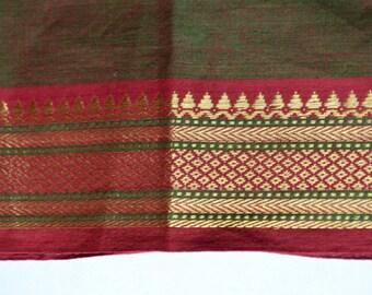 Handloom cotton fabric in Green and Red - One yard Yard  VMC 18