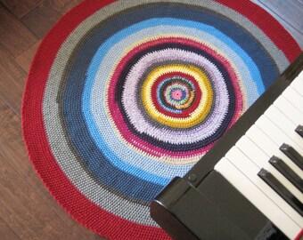 Blue & Plum Round Rug / Floor Mat  44x44