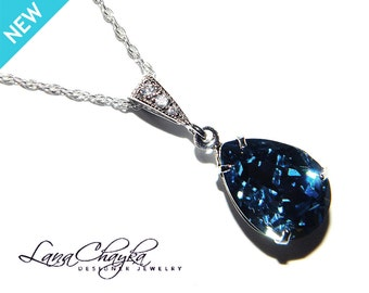 Denim Blue Crystal Necklace Dark Blue Rhinestone Wedding Necklace Swarovski Denim Blue Silver CZ Pendant Bridesmaids Jewelry Wedding Bridal