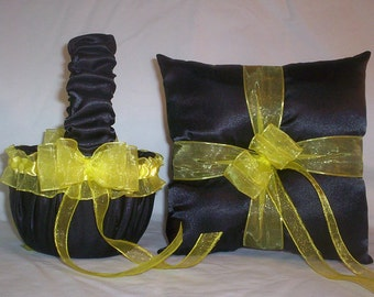 Black Satin With Yellow Ribbon Trim  Flower Girl Basket And Ring Bearer Pillow Set 2