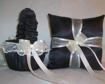 Black Satin With Ivory Cream Ribbon And Lace Trim  Flower Girl Basket And Ring Bearer Pillow Set 3